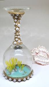 wine glass candle holder beach wedding gift beach wedding centerpiece decoration beach gift