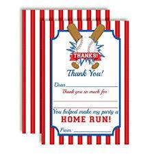 Amazon Com Baseball Home Run Themed Thank You Notes For Kids Ten
