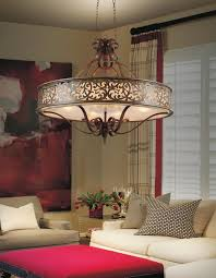 6 light drum shade chandelier with brushed chocolate finish