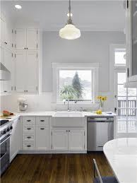 Gray Kitchen Walls With White Cabinets And Decor