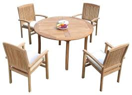 5 piece outdoor teak dining set 48 round table 4 wave stacking outdoor round dining table patio dining tables