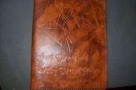 custom made custom leather portfolio with masonic design and personalization