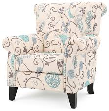 Blue Patterned Chair Inspiration Solvang White Blue Floral Fabric Club Chair Midcentury