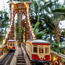 brooklyn bridge replica and trains at the holiday train show