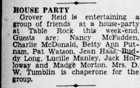 Grover Reid House Party Madge Morton D W Tumblin - Newspapers.com