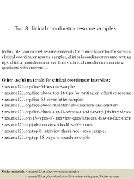 clinical research coordinator resume sample top 8 clinical coordinator resume samples