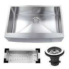 VIGO Farmhouse Apron Front Stainless Steel 33 In Single Bowl Farmhouse Stainless Steel Kitchen Sink