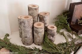 DIY Birch Log Candlestick Holders