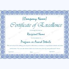 Certificate Of Excellence Template Word free excellence certificate template 89