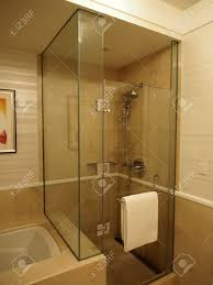 Glass Enclosed Shower Stall In Bathroom Stock Photo Enclosure ...