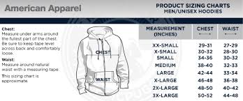 American Apparel Hoodie Size Chart F497 American Apparel Flex Fleece Zip Hoody Any Clr Sz On