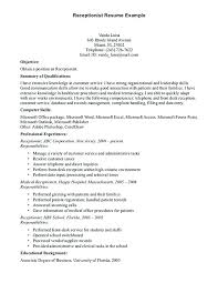 Dental Receptionist Resume Objective Front Office Secretary Resume Free Medical Receptionist Resume 33