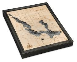 Walloon Lake Michigan Wood Carved Topographic Depth Chart Map
