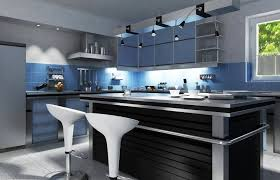 Modern Kitchen With Black Island Amidst Blue Cabinets And Gray Walls.
