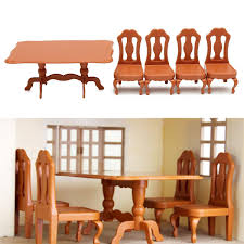 diy dollhouse furniture. Diy Miniatura Furniture Dining Tables Chairs Sets For Mini Doll House Miniatures Toys Gifts Children Adult Le Toy Van Dolls Dollhouse O