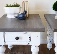 white farmhouse tables with weathered wood tops a ray of sunlight how to layer