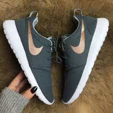 nike outfits. brand new no box nike id roshe custom grey wolf color with rose gold swoosh! outfits