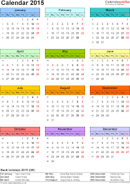Free Downloadable Monthly Calendar 2015 Template 9 Yearly Calendar 2015 As Pdf Template Portrait