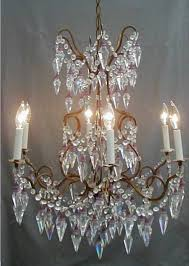 antique italian murano crystal beaded french directoire chandelier murano glass bells amethyst spears