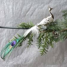 Pfau Silber Flaumfeder Glas Klipp Weihnachtsbaumschmuck