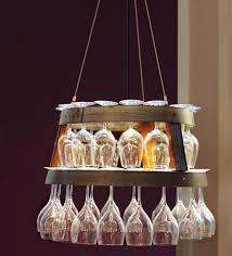 napa style barrel ring wine glass chandelier