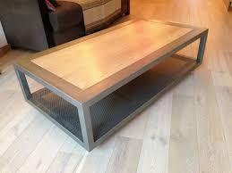 Table Basse Charme En M Tal Et Bois Massif Sur Roulettes Table Basse Design Bois Et Metal