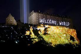 edinburgh lighting up time. a series of digitally animated projections shoot across the western facade edinburgh castle (image: pa/jane barlow) lighting up time n