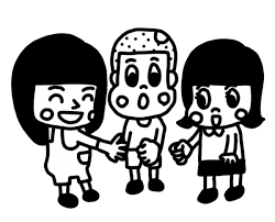 ジャンケンをして遊ぶ子どものイラスト 白黒ヤギさん フリー素材イラスト