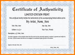 12 Certificate Authenticity Template Us31 Kokomo