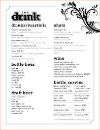 Drinks Menu Template Drinks Menu Template Wedding Drink Viewing Famous Vision Accordingly 4
