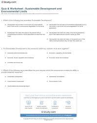 Quiz Worksheet Sustainable Development And Environmental