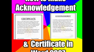 How To Make Acknowledgement And Certificate For School Projects