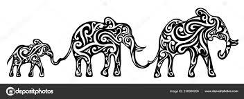 Sloní Rodina Tetování Design Stock Vektor Akvlv 238968206