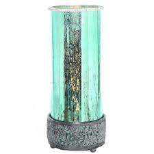teal table lamp with round studio art mercury glass shade