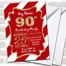 90 Birthday Party Invitations Details About Red White Diagonal Stripes Gold 90th Birthday Party Invitations