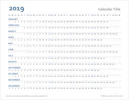 Horizontal Calendar Horizontal Yearly Calendar Templates