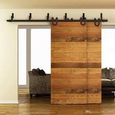 2018 5 16ft horseshoe style bypass sliding barn wood door track hardware interior closet door kitchen door easy mount bracket from sun shine