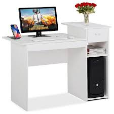 compact office furniture small spaces. White Compact Computer Desk With Drawer And Shelf Small Spaces Home Office Furniture D