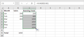 running total ulative sum in excel