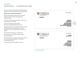 Compliment Slips Template Identity Guidelines By University Of Cambridge Issuu