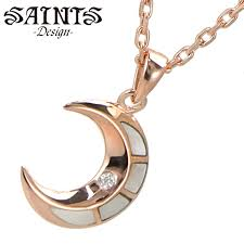 rose gold coating lady s saints ssp 720f made of crescent moon necklace pendant silver 925