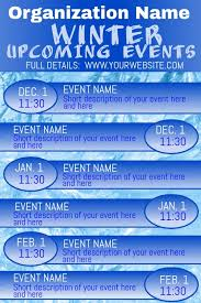 Winter Upcoming Events Calendar 2 Template Postermywall