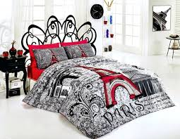 full image for save of new cotton paris red double size duvet cover set eiffel theme