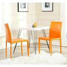 orange dining chairs chair kitchen room bonded leather set of 2 ikea