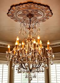 gorgeous faux finished large ceiling medallion with crystal chandelier