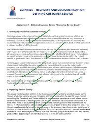 Define Customer Service Assignment 1 Defining Customer Service