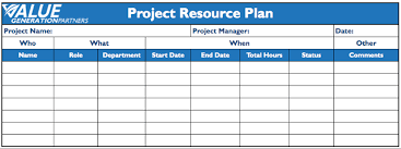 generating value by creating a project resource plan value resource plan template value generation partners