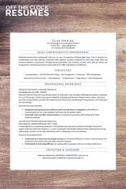 Legal Assistant Resume Example Off The Clock Resumes Monograms