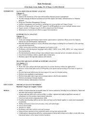 Data Analyst Resume Example Support Data Analyst Resume Samples Velvet Jobs 27