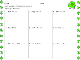 solving two step equations worksheets st patrick s day by math solving two step equations worksheet